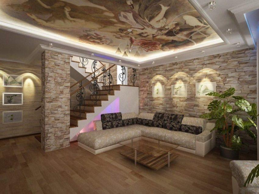 Внутренняя отделка дома камнем