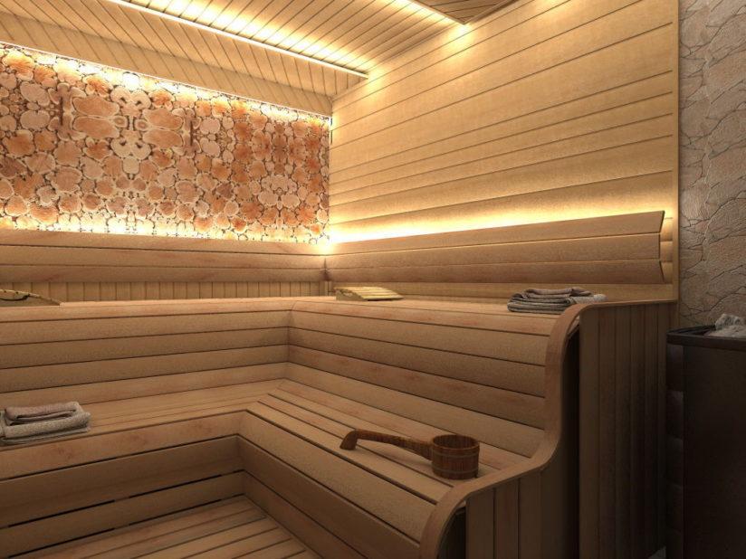 Дизайн и освещение сауны